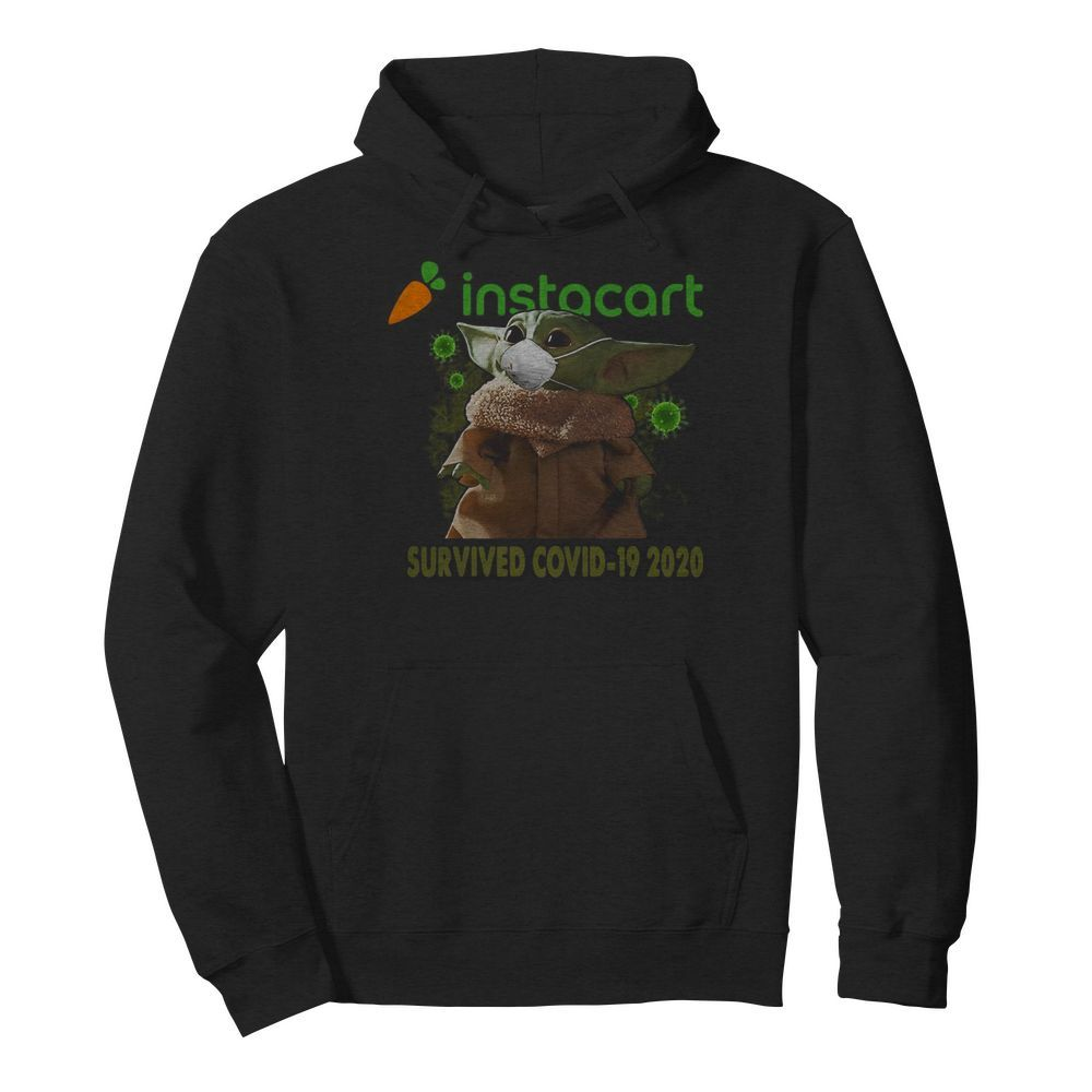 Baby Yoda Mask Instacart Survived Covid 19 2020  Unisex Hoodie