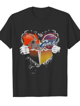 Blood inside cleveland browns and cleveland cavaliers heart shirt