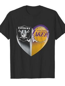 Oakland raiders and los angeles lakers heart heartbeat shirt