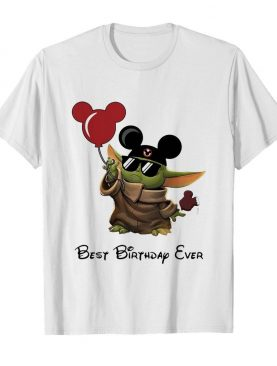 Star wars baby yoda holding balloon mickey mouse best birthday ever shirt