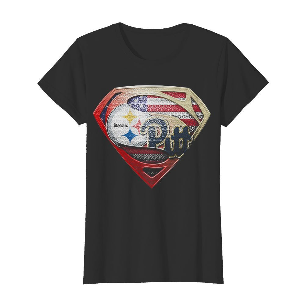 Superman pittsburgh steelers vs pittsburgh penguins american flag independence day  Classic Women's T-shirt