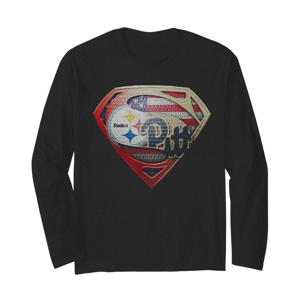 Superman pittsburgh steelers vs pittsburgh penguins american flag independence day  Long Sleeved T-shirt