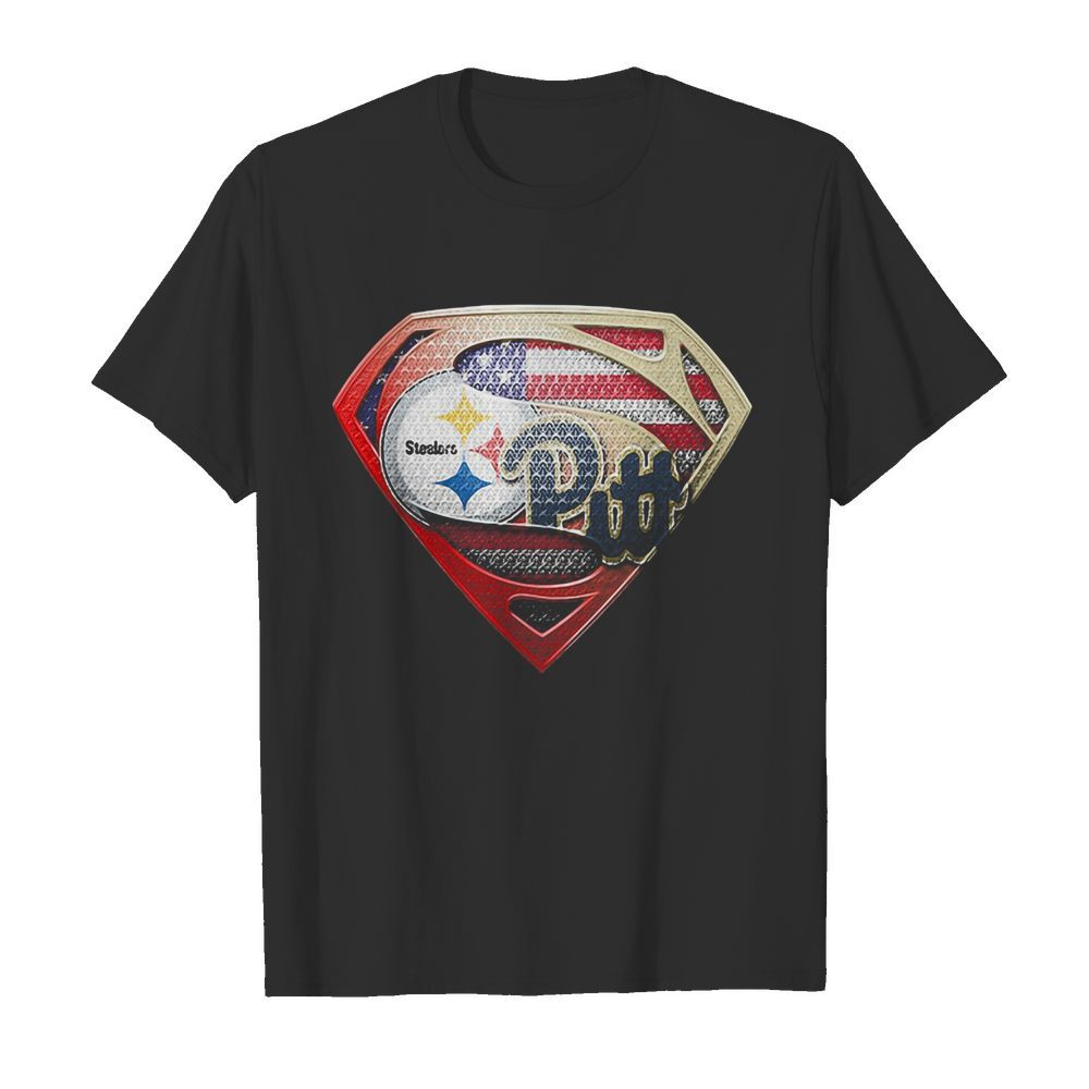 Superman pittsburgh steelers vs pittsburgh penguins american flag independence day  Classic Men's T-shirt