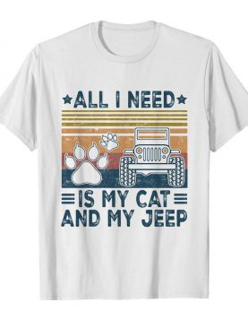 All I need is my paw cats and my jeep vintage retro shirt