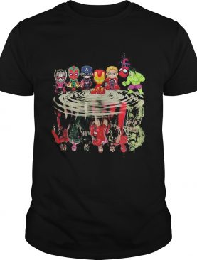 Avengers marvel superheroes chibi characters water reflection shirt