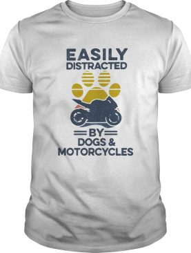 Easily Distracted By Dogs And Motorcycles Footprint Vintage Retro shirt