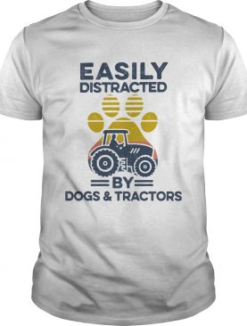 Easily Distracted By Dogs And Tractors Footprint Vintage Retro shirt