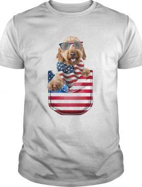 Goldendoodle pocket american flag independence day shirt