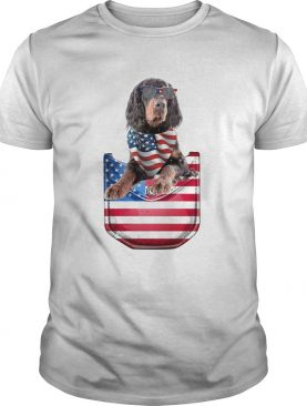 Gordon setter pocket american flag independence day shirt