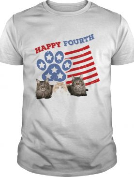 Happy fourth paw Cat American flag veteran Independence day shirt