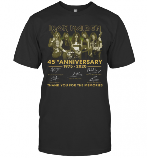 Iron Maiden 45Th Anniversary 1975 2020 Thank You For The Memories Signatures T-Shirt