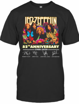Led Zeppelin Butterfly 52 Anniversary 1968 2020 Signatures T-Shirt