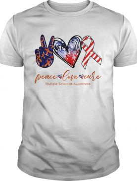 Peace Love Cure Multiple Sclerosis Awareness American Flag Veteran Independence Day shirt