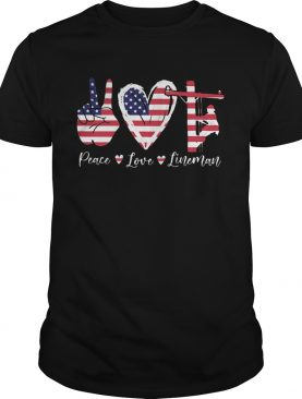 Peace love lineman american flag independence day shirt