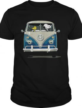 Snoopy and woodstock driving bus shirt