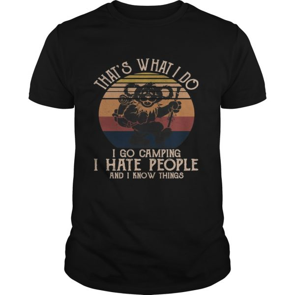 Bear thats what i do i go camping i hate people and i know vintage retro shirt