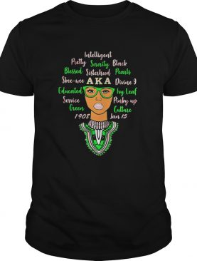 Black woman intelligent pretty sorority black blessed aka divine 9 educated ivy leaf shirt