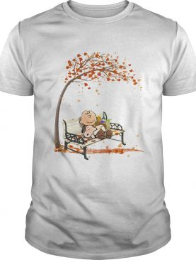 Charlie brown and snoopy fall maple leaves shirt