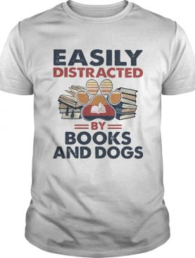 Easily Distracted By Book And Dogs Footprint Vintage Retro shirt