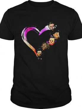 Halloween horror characters heart shirt