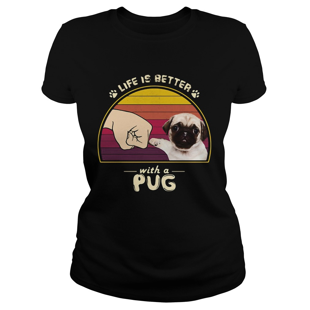 Life is better with a siberian pug hand footprint vintage retro  Classic Ladies
