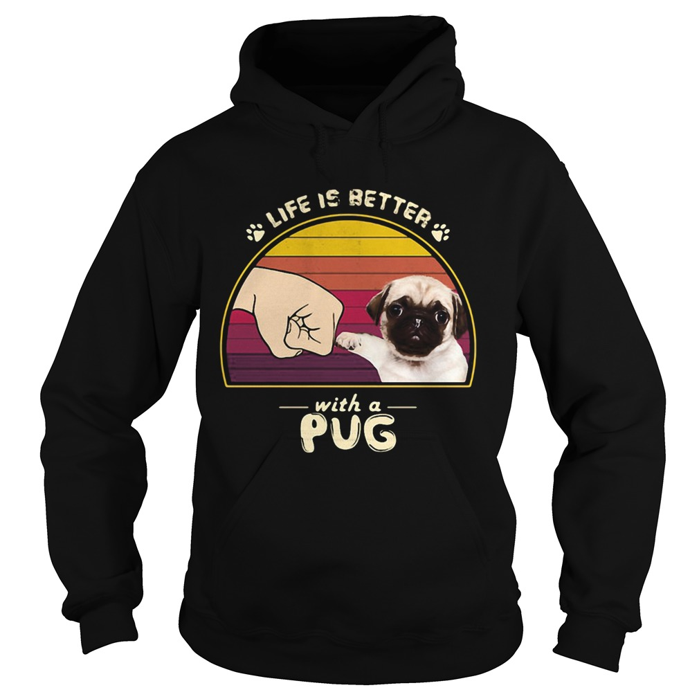 Life is better with a siberian pug hand footprint vintage retro  Hoodie