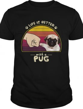 Life is better with a siberian pug hand footprint vintage retro shirt