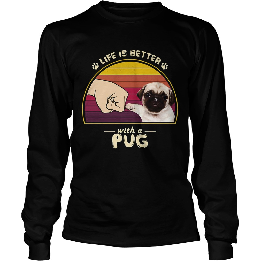 Life is better with a siberian pug hand footprint vintage retro  Long Sleeve
