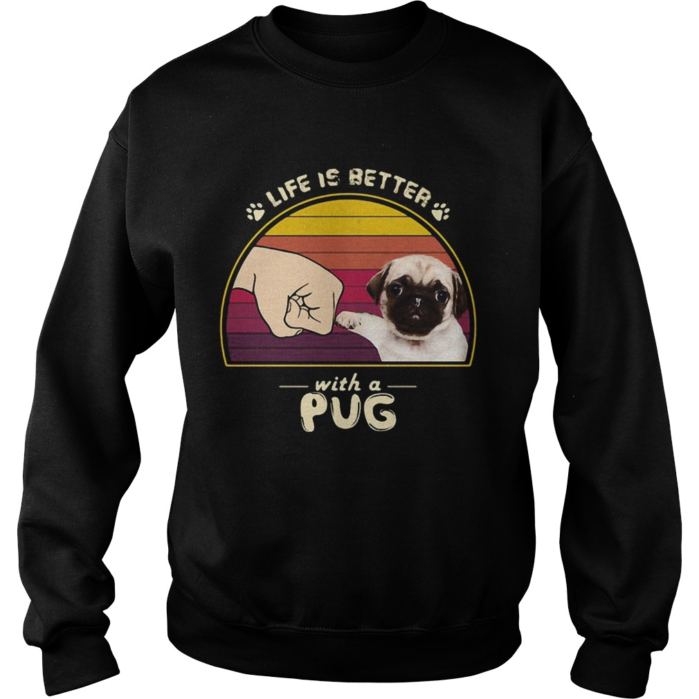 Life is better with a siberian pug hand footprint vintage retro  Sweatshirt