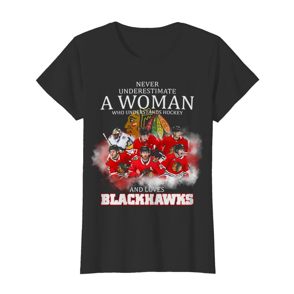 Never underestimate a woman who understands hockey and loves blackhawks logo  Classic Women's T-shirt