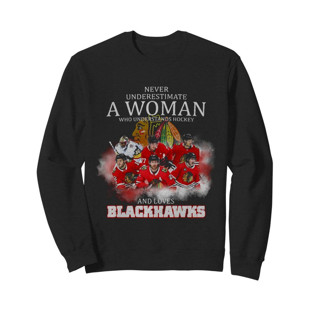 Never underestimate a woman who understands hockey and loves blackhawks logo  Unisex Sweatshirt