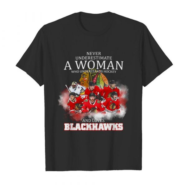 Never underestimate a woman who understands hockey and loves blackhawks logo shirt