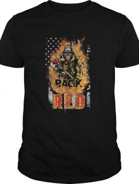 Skeleton firefighter back the red fire american flag independence day shirtSkeleton firefighter bac