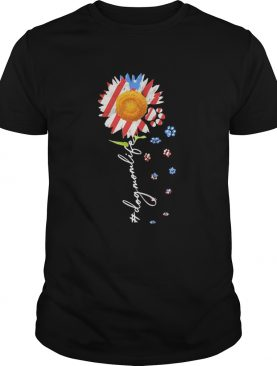 Sunflower paws dog mom life american flag independence day shirt