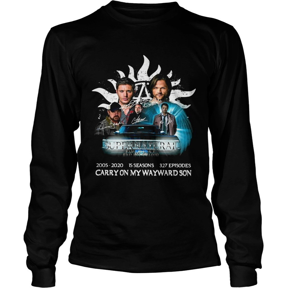 Supernatural family dont end with blood carry on my wayward son signatures  Long Sleeve