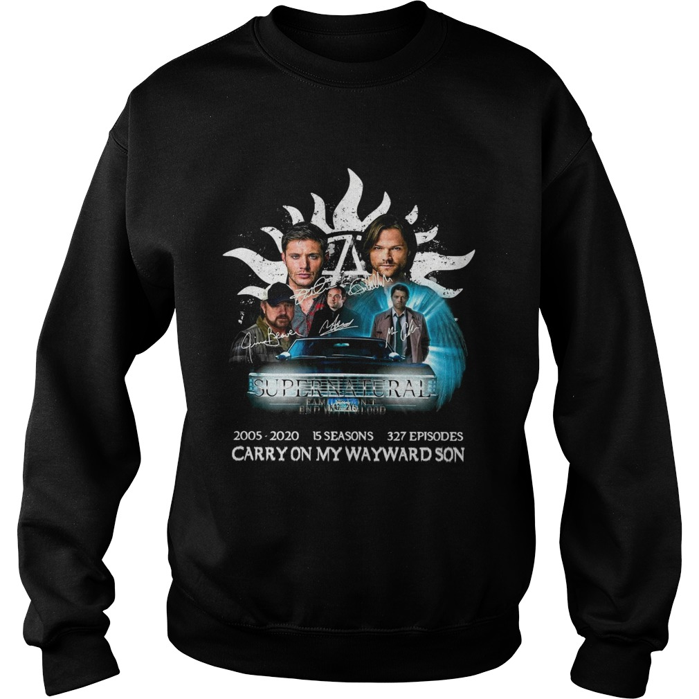 Supernatural family dont end with blood carry on my wayward son signatures  Sweatshirt