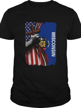 Wisconsin american flag cross happy independence day shirt