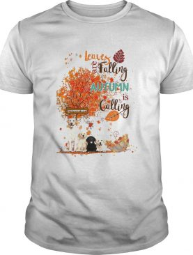 Golden retriever leaves are falling autumn is calling shirt