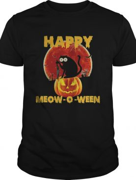 Halloween Black Cat Hold Knife Happy Meowoween shirt