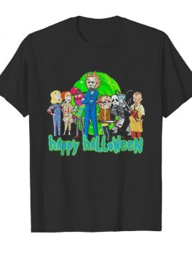 Horror characters rick and morty happy halloween shirt