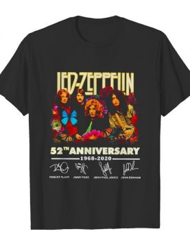 Led zeppelin 52nd anniversary 1968 2020 thank you for the memories signatures flower shirt