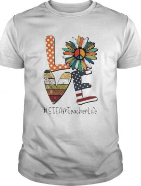 Love Steamteacherlife Peace Sunflower American Flag shirt