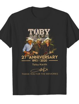 Toby Keith 27th anniversary 1993 2020 signature thank you for the memories shirt