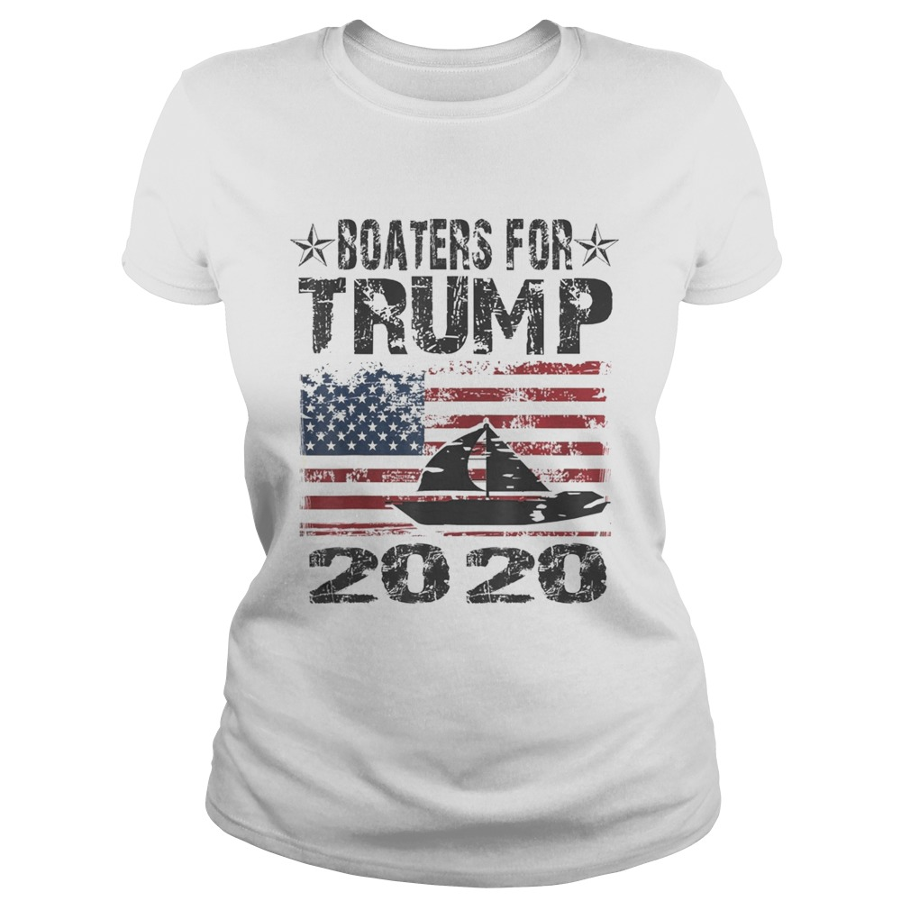 Boaters For Trump Conservative Vintage American Flag 2020  Classic Ladies