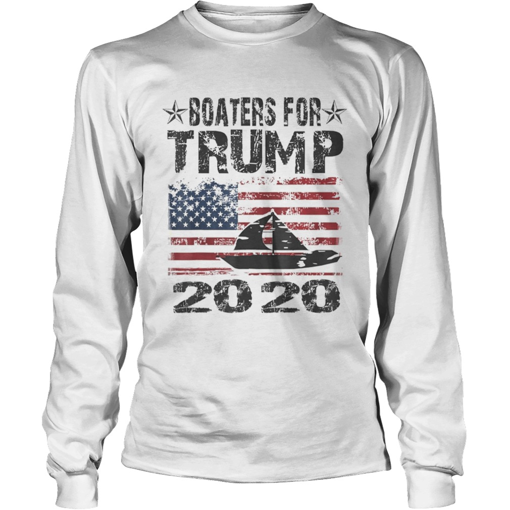 Boaters For Trump Conservative Vintage American Flag 2020  Long Sleeve