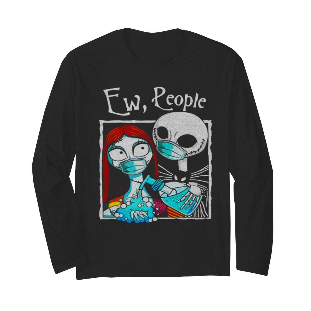 Jack And Sally Wearing Facemask Hand Sanitizer  Long Sleeved T-shirt