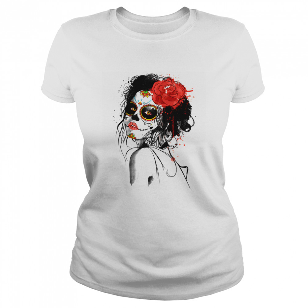 Muertos Day Of The Dead Sugar Skull Girl  Classic Women's T-shirt