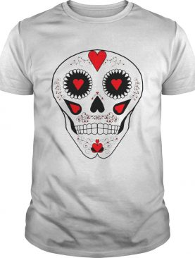 Skull Hearts Red Black White Day Of The Dead shirt