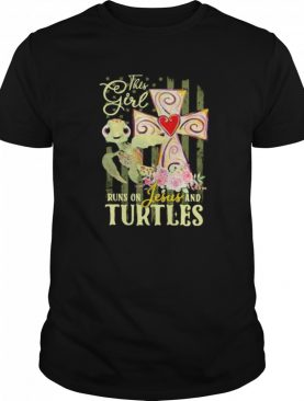 This Girl Runs On Jesus And Turtles American Flag Independence Day shirt