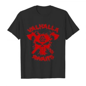 Vikings skull valhalla awaits blood shirt